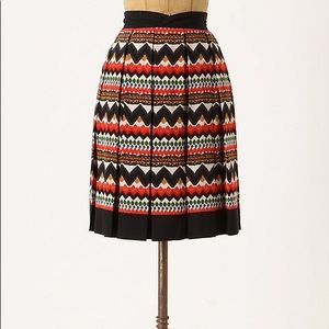 Anthropologie Fei Denpasar Graphic Pleated Skirt